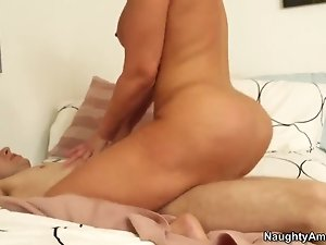 Preciously shaped guy Danny Wylde passionately cussing out his big boobed blonde girlfriend Mellanie Monroe.