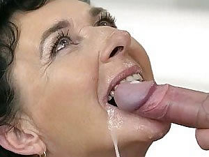 Brunette grandma sucks cock and swallows cum