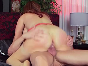 Big breasted mature bitch rides on hard cock