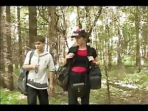 Mom takes sons friend into the woods for a fuck