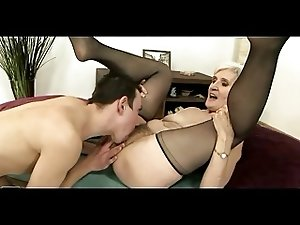 Grey Haired Granny in Stockings Gets Cum on her Hairy Pussy