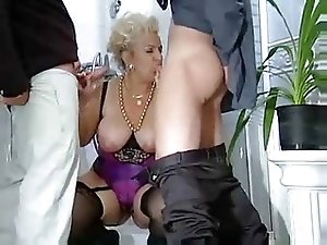 German Busty Mature Fucks Dad And Son
