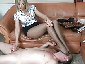 mature nylon spitting foot fetish and handjob 7