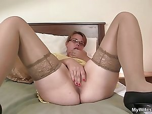 He finds her masturbating and offers his cock